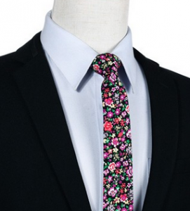 cravate-etroite-motif-floral1